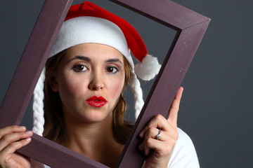 santa girl within a frame