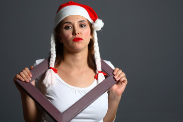 santa girl inside frame
