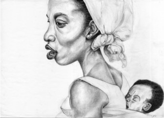 african woman with child - drawing