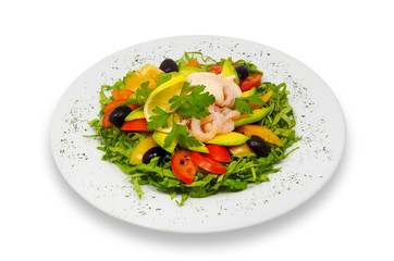shrimp and fresh vegeables salad with avocado and