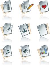 design elements 43a. paper works icons set
