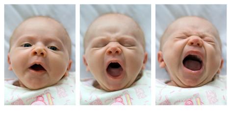 yawning infant - triptych