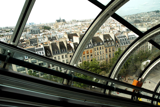 france, paris: view on the roofs of paris from beaubourg