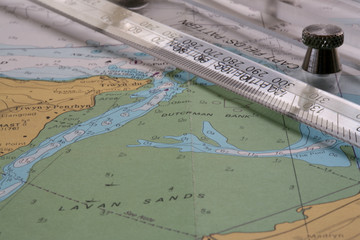 nautical chart with parallel rulers
