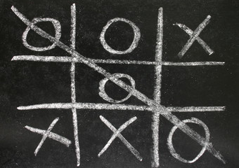 noughts and crosses game played on a blackboard