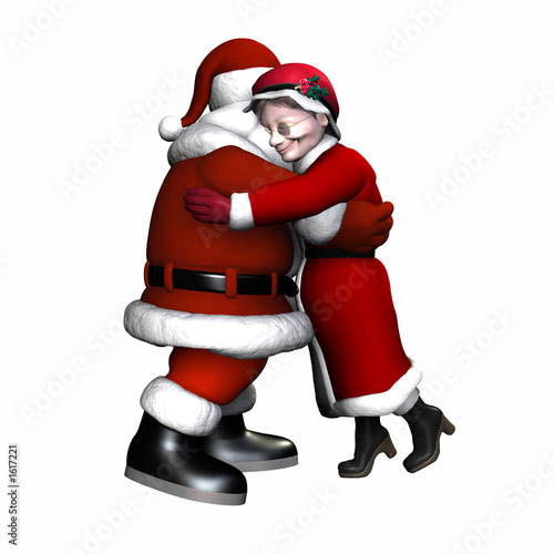 Santa And Mrs Claus Hugging Isolated