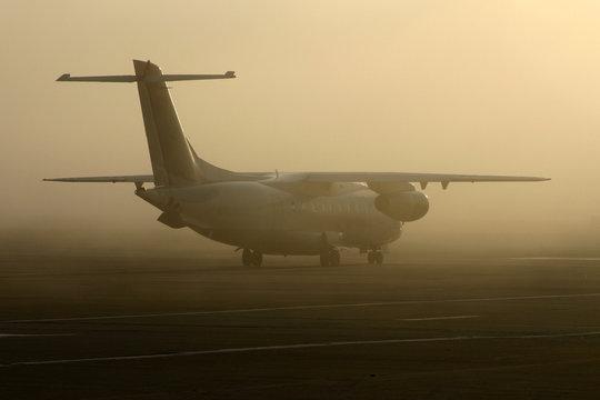 airplane in fog