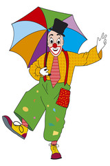 clown with with umbrella