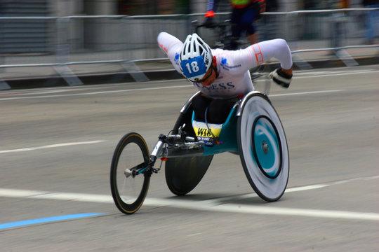 athlete in wheelchair race