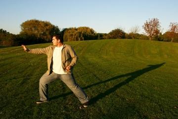 shotokan karate training in park