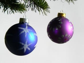 christmas toys on a fir tree