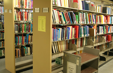 Door stickers Library bookshelves in science library