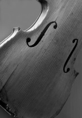black and white image of an antique violin on display