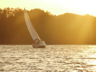 sunset by sailing