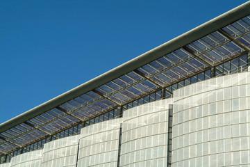 details of modern facade of ecological building