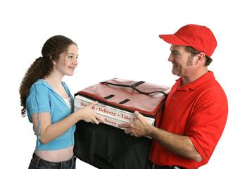 happy pizza customer
