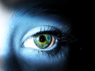 yeux bleu vert