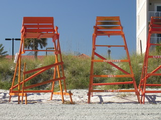 two lifeguard chairs