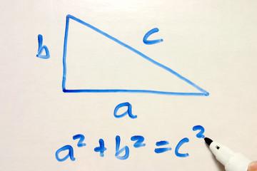 pythagoras equation on a whiteboard