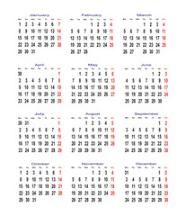 calendar for 2007 year. sundays are red