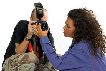 professional photographer with dslr while working