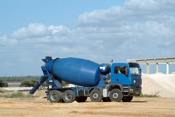 blue concrete truck mixer in the workmanship