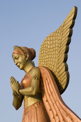 low angle view of the statue of an angel