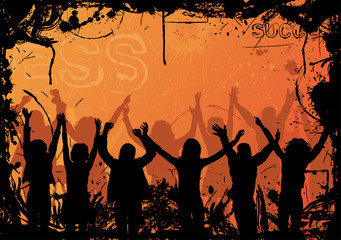 grunge background with jumping silhouettes