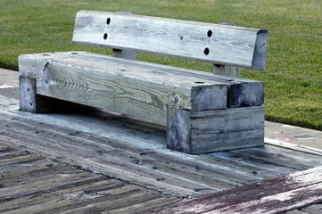 heavy wooden park bench
