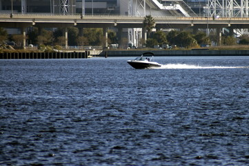 speed boat on river