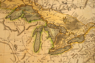 antique great lakes map of 1795.