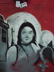street graffiti of girl red & black