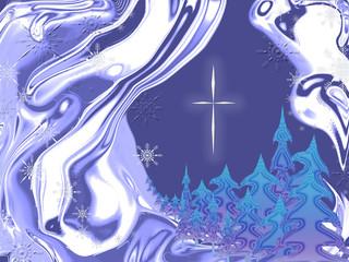 christmas night blue abstract