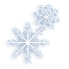 the snowflakes on white.
