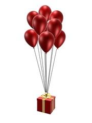 rote ballons mit päckchen