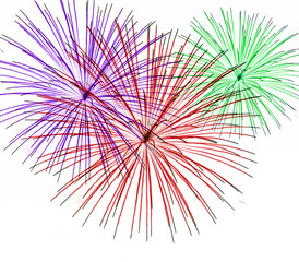 colorful fireworks on white