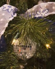 disco ball and ribbon ornament