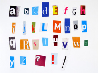 colorful alphabet made of magazine cuttings