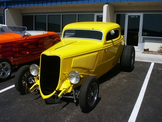 Wall Mural - yellow american hotrod
