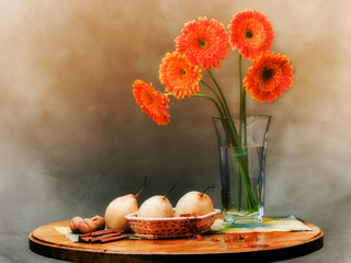 elegant sill life with orange flowers