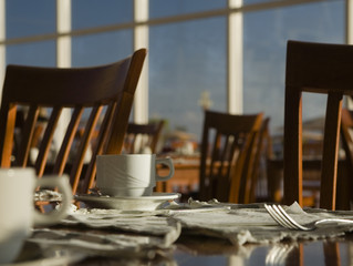 iinterior of a morning cafe.