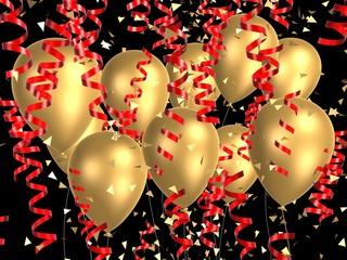 goldene ballons mit bändern