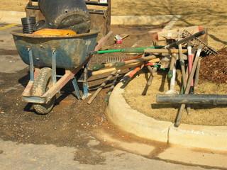 hand tools and wheel barrow