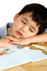 a young boy fallen asleep