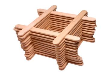 a stack of wooden lollipop sticks.