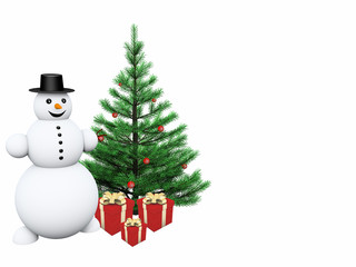 snowman with gifts and christmas tree