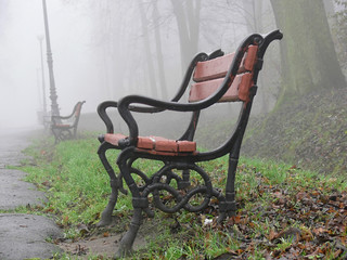 red bench in the fog