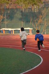 little boys running