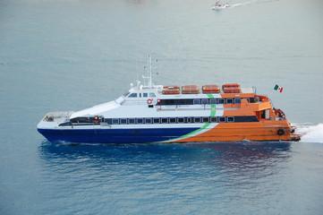 passenger service large boat in exotic port