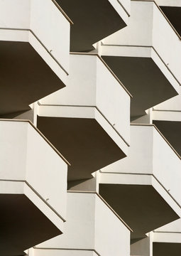 close up of hotel balconies